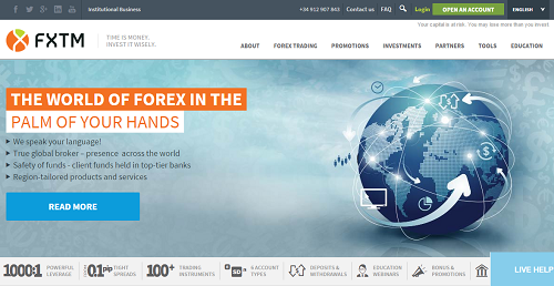 screenshot fxtm website